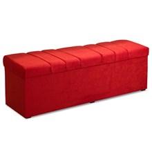 Recamier Calçadeira Baú 195 cm Roma Suede Amassado Vermelho - JS Móveis