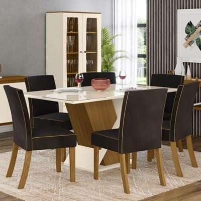 Sala de Jantar Completa Mesa 6 Cadeiras com Buffet e Aparador Solus Nature/Off White/Marrom - Henn
