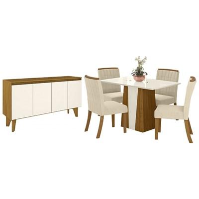 Sala de Jantar Completa Mesa Orus 4 Cadeiras Tauá e Buffet Quartzo Nature/Off White/Linho - Henn