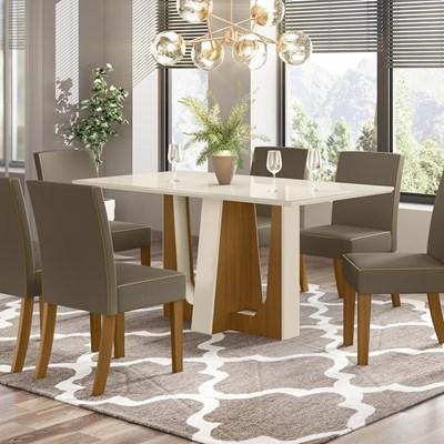 Sala de Jantar Mesa Alfa 160cm 6 Cadeiras Maris Nature/Off White/Bege - Henn
