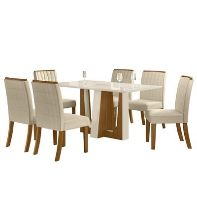 Sala de Jantar Mesa Alfa 160cm 6 Cadeiras Tauá Nature/Off White/Linho - Henn