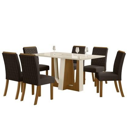 Sala de Jantar Mesa Alfa 160cm 6 Cadeiras Vega Nature/Off White/Marrom - Henn