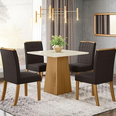Sala de Jantar Mesa Dora 90cm com 4 Cadeiras Tauá Nature/Off White/Marrom - Henn