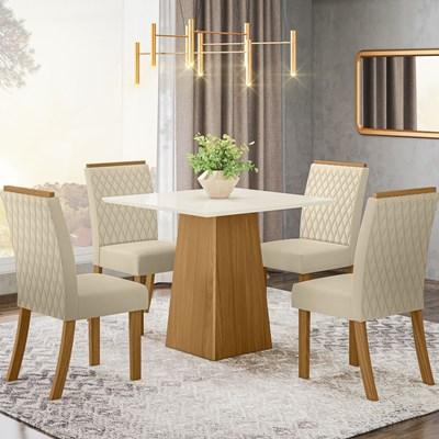 Sala de Jantar Mesa Dora 90cm com 4 Cadeiras Vega Nature/Off White/Linho - Henn
