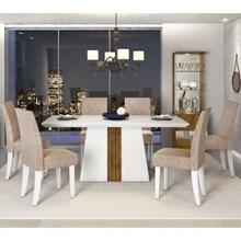 Sala de Jantar Mesa Itália 170cm e 6 Cadeiras Olimpia Branco/Demolição/Bege - Dj Móveis