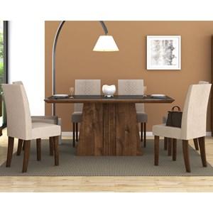 Sala de Jantar Mesa Itália 170cm e 6 Cadeiras Olimpia Malbec/Preto/Bege - Dj Móveis