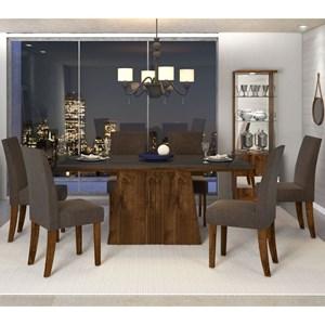 Sala de Jantar Mesa Itália 170cm e 6 Cadeiras Olimpia Malbec/Preto/Marrom - Dj Móveis