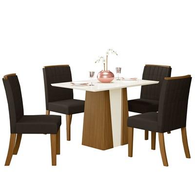 Sala de Jantar Mesa Orus 120cm com 4 Cadeiras Tauá Nature/Off White/Marrom - Henn