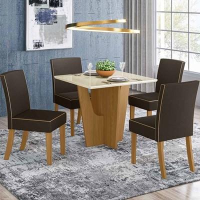 Sala de Jantar Mesa Quadrada Vértice 90cm com 4 Cadeiras Maris Nature/Off White/Marrom - Henn