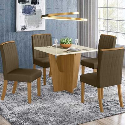 Sala de Jantar Mesa Quadrada Vértice 90cm com 4 Cadeiras Tauá Nature/Off White/Bege - Henn