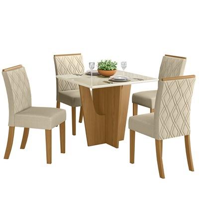 Sala de Jantar Mesa Quadrada Vértice 90cm com 4 Cadeiras Vita Nature/Off White/Linho - Henn