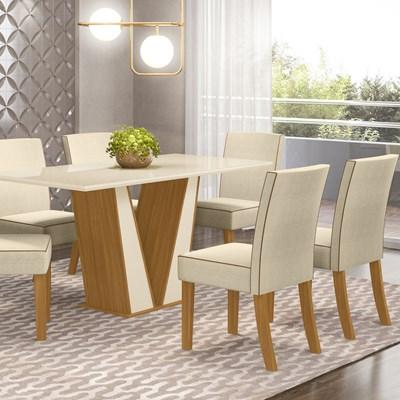 Sala de Jantar Mesa Retangular Garda 160cm com 6 Cadeiras Maris Nature/Off White/Linho - Henn