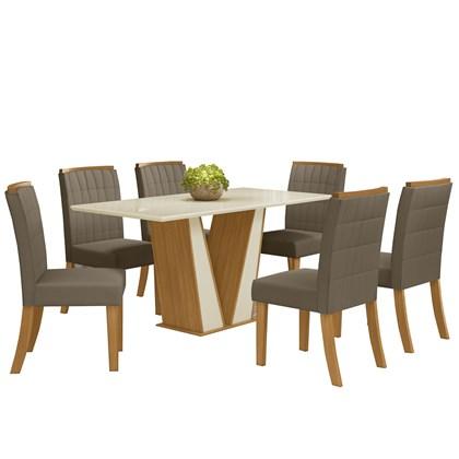 Sala de Jantar Mesa Retangular Garda 160cm com 6 Cadeiras Tauá Nature/Off White/Bege - Henn