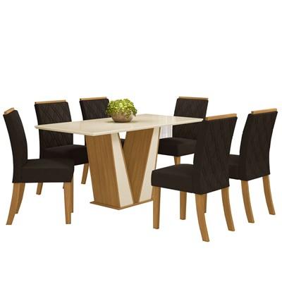 Sala de Jantar Mesa Retangular Garda 160cm com 6 Cadeiras Vita Nature/Off White/Marrom - Henn