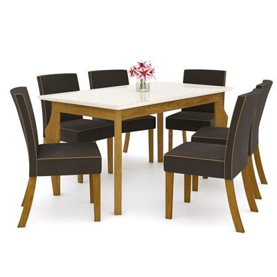 Sala de Jantar Mesa Retangular Ghala 160cm com 6 Cadeiras Maris Nature/Off White/Marrom - Henn