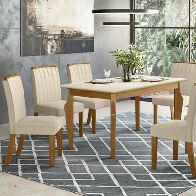 Sala de Jantar Mesa Retangular Ghala 160cm com 6 Cadeiras Tauá Nature/Off White/Linho - Henn