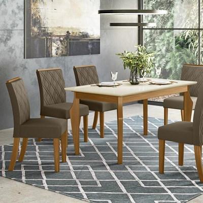 Sala de Jantar Mesa Retangular Ghala 160cm com 6 Cadeiras Vita Nature/Off White/Bege - Henn