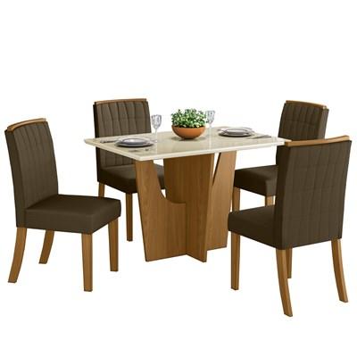Sala de Jantar Mesa Retangular Vértice 120cm com 4 Cadeiras Tauá Nature/Off White/Bege - Henn