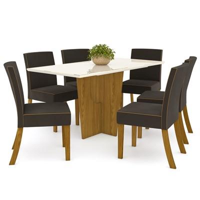 Sala de Jantar Mesa Retangular Vértice 160cm com 6 Cadeiras Maris Nature/Off White/Marrom - Henn