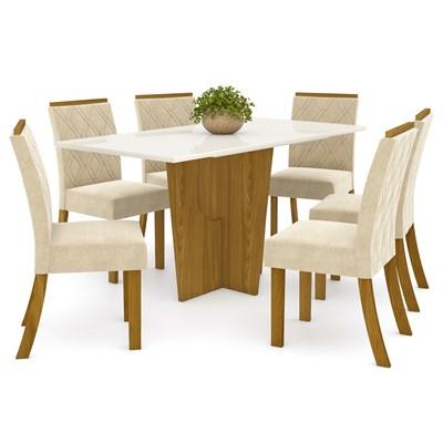 Sala de Jantar Mesa Retangular Vértice 160cm com 6 Cadeiras Vita Nature/Off White/Linho - Henn