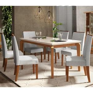 Sala de Jantar Mesa Rouge e 6 Cadeiras Serena Carvalho/Off/Claro - Dj Móveis
