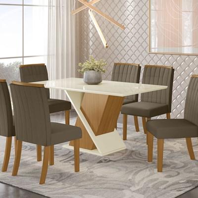 Sala de Jantar Mesa Solus 160cm com 6 Cadeiras Tauá Nature/Off White/Bege - Henn
