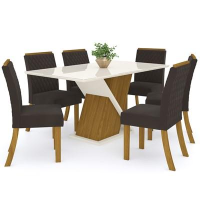 Sala de Jantar Mesa Solus 160cm com 6 Cadeiras Vega Nature/Off White/Marrom - Henn