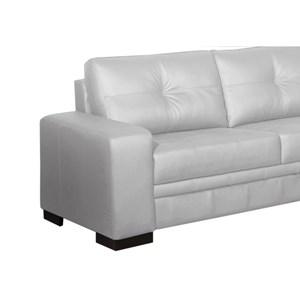 Sofá 03 Lugares 2,10 m Couro Milano Branco - Arte Sala