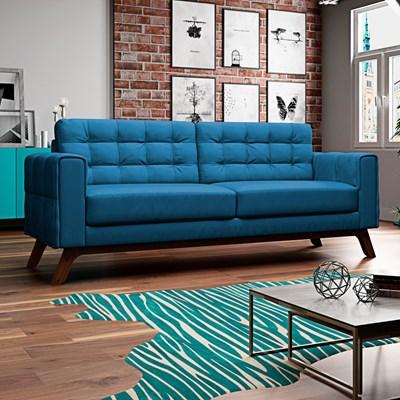 Sofá 150 cm 2 Lugares Sandero B-170 Veludo Azul - Domi