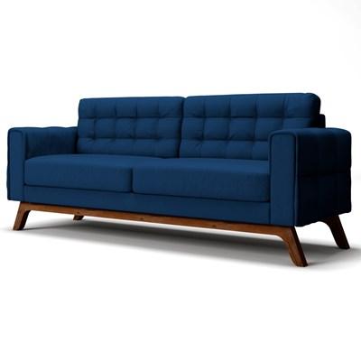 Sofá 180 cm 3 Lugares Sandero B-304 Veludo Azul Marinho - Domi