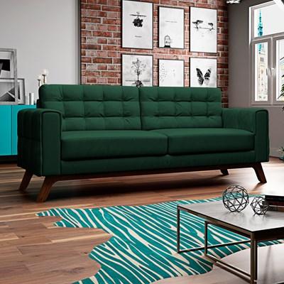 Sofá 210 cm 3 Lugares Sandero B-303 Veludo Verde - Domi
