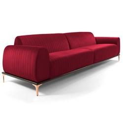 Sofá 210cm 3 Lugares Pés Rose Gold Molino B-173 Veludo Vermelho - Domi