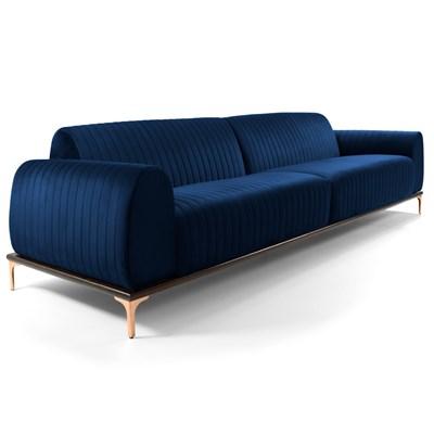 Sofá 210cm 3 Lugares Pés Rose Gold Molino B-304 Veludo Azul Marinho - Domi