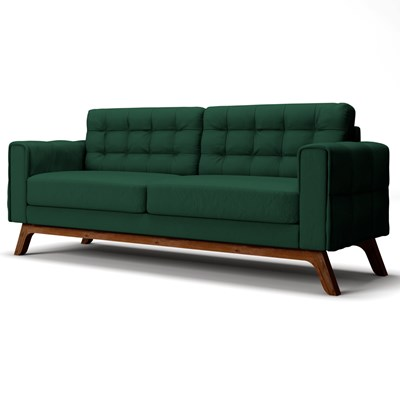 Sofá 230 cm 3 Lugares Sandero B-303 Veludo Verde - Domi