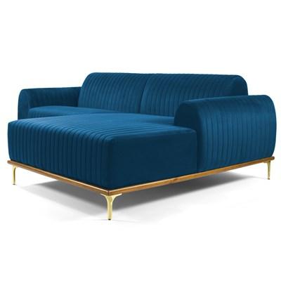 Sofá 230cm 4 Lugares com Chaise Direito Pés Gold Molino B-170 Veludo Azul - Domi
