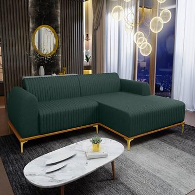 Sofá 230cm 4 Lugares com Chaise Direito Pés Gold Molino C-117 Linho Verde - Domi