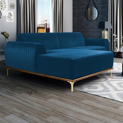Sofá 230cm 4 Lugares com Chaise Esquerdo Pés Gold Molino B-170 Veludo Azul - Domi