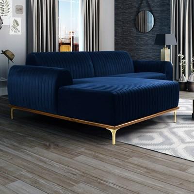 Sofá 230cm 4 Lugares com Chaise Esquerdo Pés Gold Molino B-304 Veludo Azul Marinho - Domi