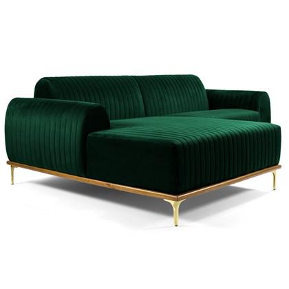 Sofá 245cm 4 Lugares com Chaise Esquerdo Pés Gold Molino B-303 Veludo Verde Musgo - Domi