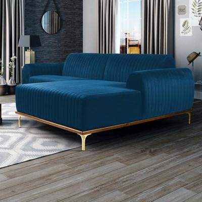 Sofá 255cm 4 Lugares com Chaise Direito Pés Gold Molino B-170 Veludo Azul - Domi