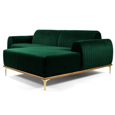 Sofá 255cm 4 Lugares com Chaise Direito Pés Gold Molino B-303 Veludo Verde Musgo - Domi