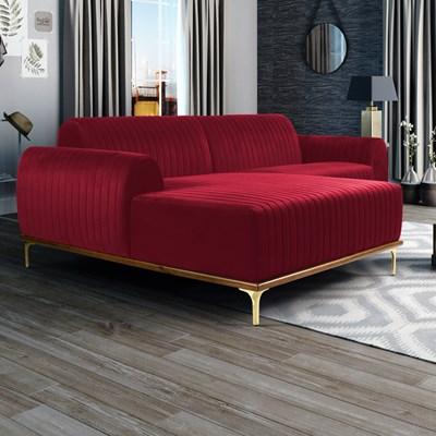 Sofá 255cm 4 Lugares com Chaise Esquerdo Pés Gold Molino B-173 Veludo Vermelho – Domi