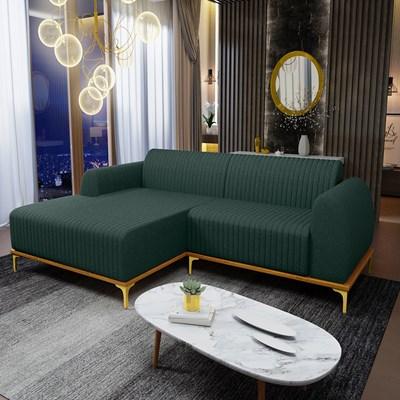 Sofá 255cm 4 Lugares com Chaise Esquerdo Pés Gold Molino C-117 Linho Verde - Domi