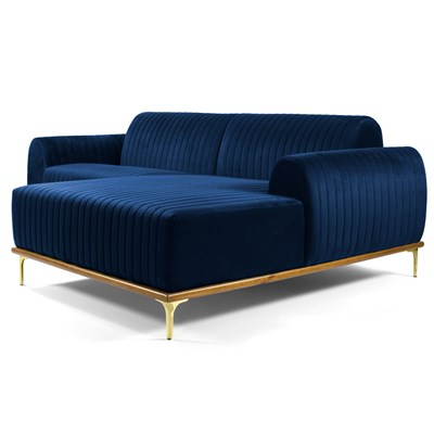 Sofá 265cm 4 Lugares com Chaise Direito Pés Gold Molino B-304 Veludo Azul Marinho - Domi