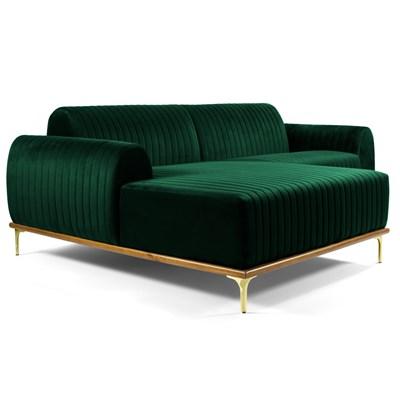 Sofá 265cm 4 Lugares com Chaise Esquerdo Pés Gold Molino B-303 Veludo Verde Musgo - Domi