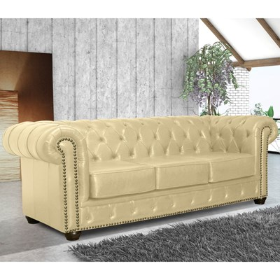 Sofá 3 Lugares 235cm Chesterfield Couro Bege - Mempra