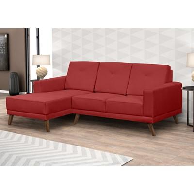 Sofá 3 Lugares com Chaise Direito Capricho Suede D05 Vermelho - Mpozenato