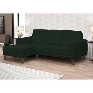 Sofá 3 Lugares com Chaise Direito Capricho Suede Verde Musgo - Mpozenato