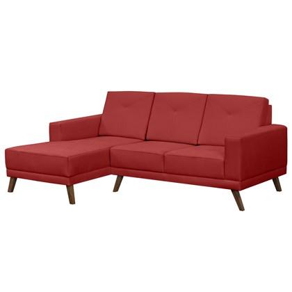 Sofá 3 Lugares com Chaise Direito Capricho Suede Vermelho - Mpozenato
