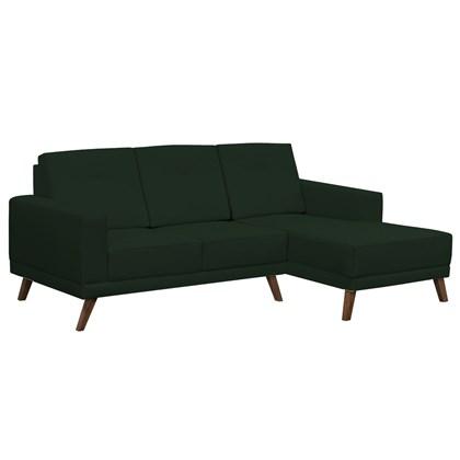 Sofá 3 Lugares com Chaise Esquerdo Pés Retrô Capricho Suede Verde Musgo - D'Monegatto